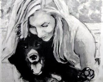 Custom Dog Portrait, Custom Pet Portrait, Black Lab, Bear Dog, Newfie, Water Dog, Dog Mom, Custom Christmas Present
