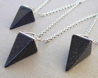 Blue Goldstone Pendant Blue Goldstone Necklace Long Necklace DarkBlue Goldstone Crystal Pyramid pendant Girlfriend gift Stone Pendant