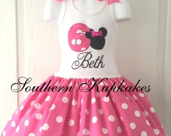 MINNIE MOUSE Bday Disney Inspired Twirl Dress Birthday Custom BOUTIQUE Pageant Party All Sizes Pink White Black Polka Dots 1st 2nd 3rd 4th