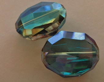 Blue Green Large Faceted Crystals - 25mm x 20mm - 2 crystals