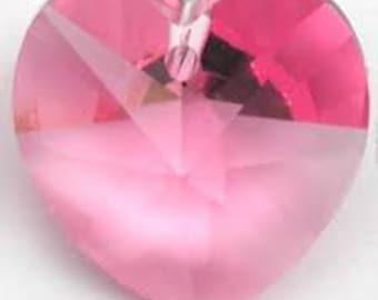 17mm Pink Swarovski Pendant Heart Crystal - 1 Heart