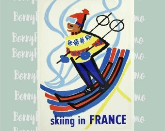 France Travel Poster, Ski Poster, Winter sports art, 1950s French poster, Dorm decor, ski lodge decor, Gift for skiers, skiing in France
