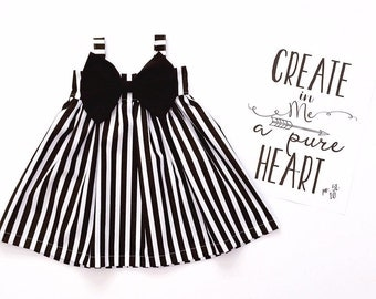 Black and White Strips Big Bow Dress! Perfect in any Occasion!