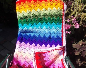 Crochet Afghan Rainbow Handmade Throw 60 х 80 Inches
