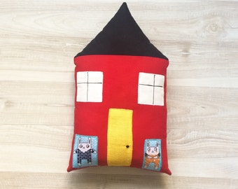 House pillow, stuffed house, kids pillow