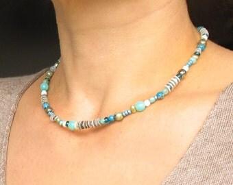 short beaded necklace, Choker, beaded necklace,  beaded chokers, collane, colier, mix beads necklace, beades ketten