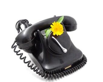 Vintage Rotary Phone - Kristian Kirks - Bakelite Phone - Black Rotary Phone - 1960s Retro Telephone - Danish Modern Phone - Retro Office