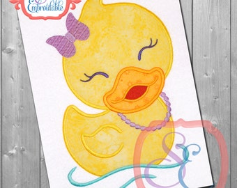 LITTLE DUCKY GIRL Applique Design For Machine Embroidery