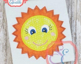 HAPPY SUN Applique Design For Machine Embroidery INSTANT Download
