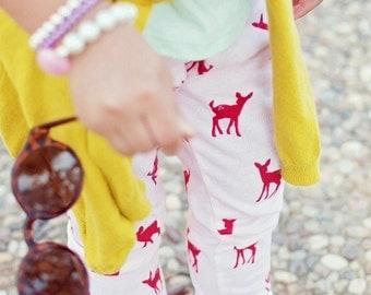 SALE deer print leggings baby girl red pink leggings leggings baby girl leggings rhinestone red topknot