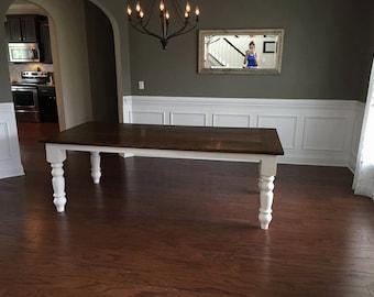 Carolina Turned Leg Farmhouse Table