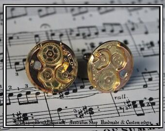 Cufflinks with imitation gold watch inner workings. Made in Australia. Steampunk cufflinks. Gentlemens cufflinks. Groom and groomsmen gifts.