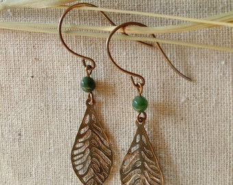 Bronze Filigree Leaf Earrings With Moss Agate