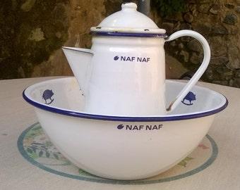 French vintage NAF NAF jug and bowl enamel with pigs motif
