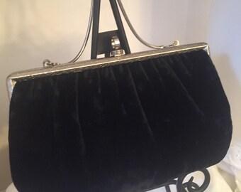 Vintage Black Velvet Handbag Black velvet Purse black velvet Clutch black velvet clutch LOVE IT ALL Boutique
