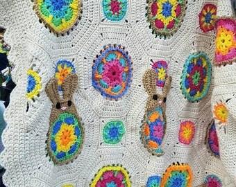 Funny Bunny Hand Crochet Blanket. Baby Blanket Decoration - Baby Shower Gift