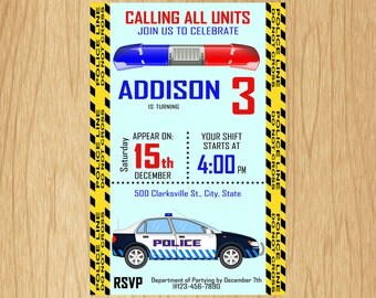 Personalized POLICE Invitation Printable Police Birthday Invitation, Police Birthday Invitation, Police Birthday Printable KWP001