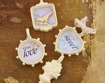 Vintage Trinkets and Resin Collection - Metal Trinkets Meadow Lark Embellishments, Bird, Love, Decorations, Accent.
