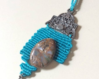 handmade bohemian necklace with jasper stone