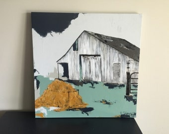 30x30 Original Painting, Abstract Barn, Farmhouse Style