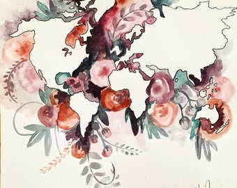 Watercolor floral world print 12inx12in