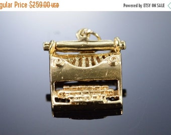 1 Day Sale 14K 3D Typewriter Writers Author Large Charm/Pendant Yellow Gold