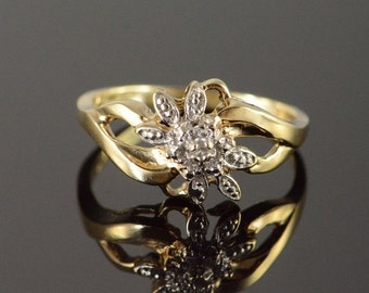 ON SALE 10K Genuine Diamond Encrusted Cluster Floral Ring Size 8 Yellow Gold