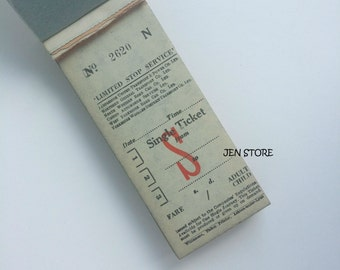Vintage Old British UK bus tickets with carbon paper - mixed media, collage, paper ephemera
