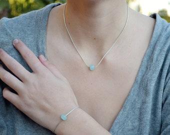 Blue quartz Necklace. Sterling Silver Ocean blue bead Chain Necklace + bracelet . israel jewelry.