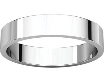 14K White Gold 4mm Flat Wedding Band &  stackable Ring for Men and Women in size 4 to 16