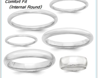 Sterling Silver 2 mm Comfort Fit Wedding Band Sold 925 Silver Stackable Lady's Ring