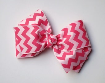 Jumbo Pink Chevron Boutique Bow for Girls