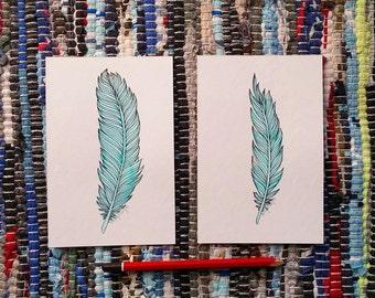 Two Pieces: 4 x 6 in each, Original Art Feathers Teal India Ink with Black Micron on Watercolor Card Watercolour