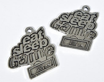 6 Eat Sleep Game Charms - Gaming Charms - Gamer's jewelry - Gifts for Gamers - Video Game Charms - MMORPG Charms - SC1447