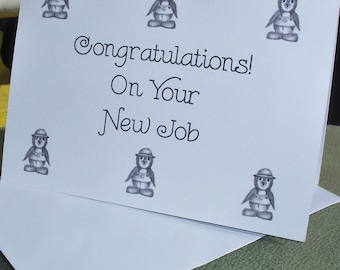New Job Greeting Card / Congratulations  Greeting Card /  Penguin Congratulations Greeting  Card N30