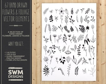 67 Hand Drawn Flowers & Foliage Vector Elements
