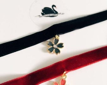 Born to be Loved. A PAIR of velvet Chokers. Sakura. Black & wind. Necklace