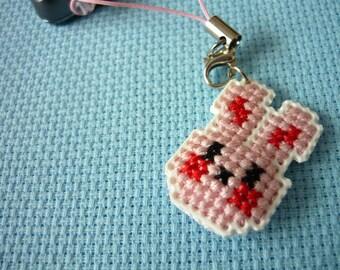 Cross stitch phone charm - kawaii bunny, gift for teens, cute keychain, kawaii charm, cute phone dangle, Dust Plug, Earphone Plug