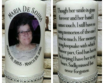 Personalized Memorial Candle (Photo and Verse)