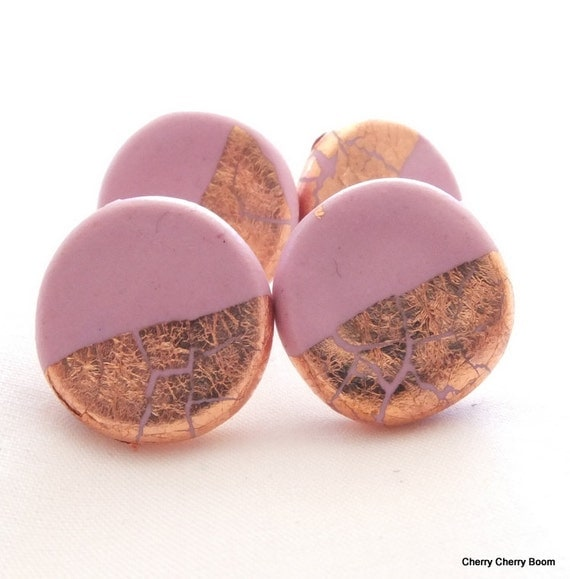 Clay studs, earrings, studs, jewelry, pink, polymer clay, simple earrings, copper, gold, everyday earrings, handmade, fimo, small, pretty