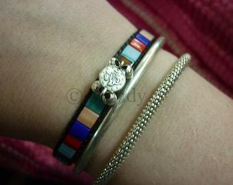 Miyuki woven beaded bracelet bracelet neon pink wax cord adjustable