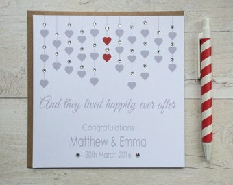 And they Lived Happily Ever After - Personalised Wedding or Engagement Congratulations Card (LB014)