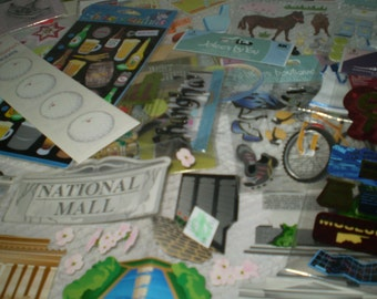 15 Unopened Packages of Scrapbooking Stickers Sports Travel Animals Holidays School Over 100 Pieces