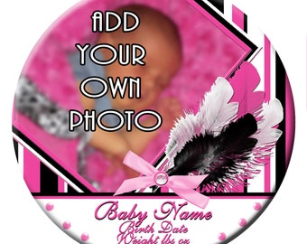 "Custom 3"" Feather Photo Birth Annoucement"