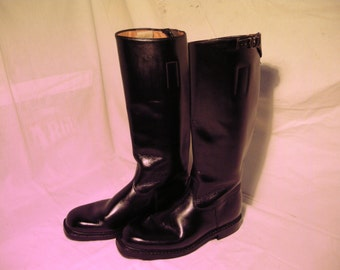 Vintage 1970's Black Leather Riding Boots.Made in Germany