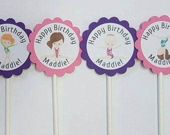 Personalized gymnastics cupcake toppers - set of 12, cake toppers, centerpiece, gym party