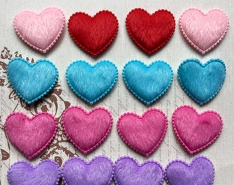 SET of 16 Assortment of colored Padded Fury Felt Heart Appliques/Valentines Day/bow/crafts/diy