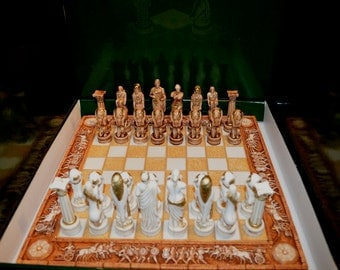 Chess set alabaster with carved battle board and Atlas warrior figures artifacts