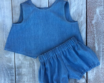 2 Pc Playsuit - Chambray 2 Pc Outfit