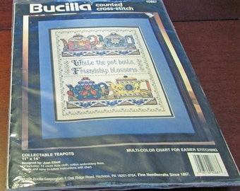 Bucilla Counted Cross Stitch Collectable Teapots Joan Elliott Wall Decoration Multi Color Chart 1994 Sampler Wall Decoration